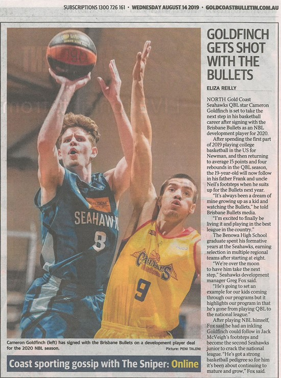 Article: (Reilly, E. (2019, August 14). GOLDFINCH GETS SHOT WITH THE BULLETS. Gold Coast Bulletin, Sport: p34.)