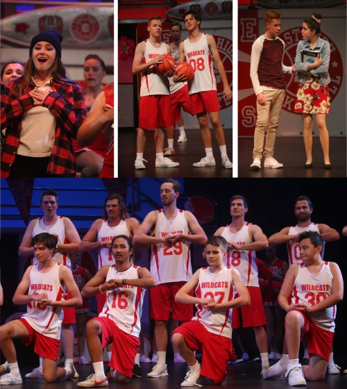 Students on stage in high school musical